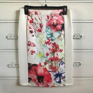 FOREVER 21 / White Floral Pencil Skirt / SZ L